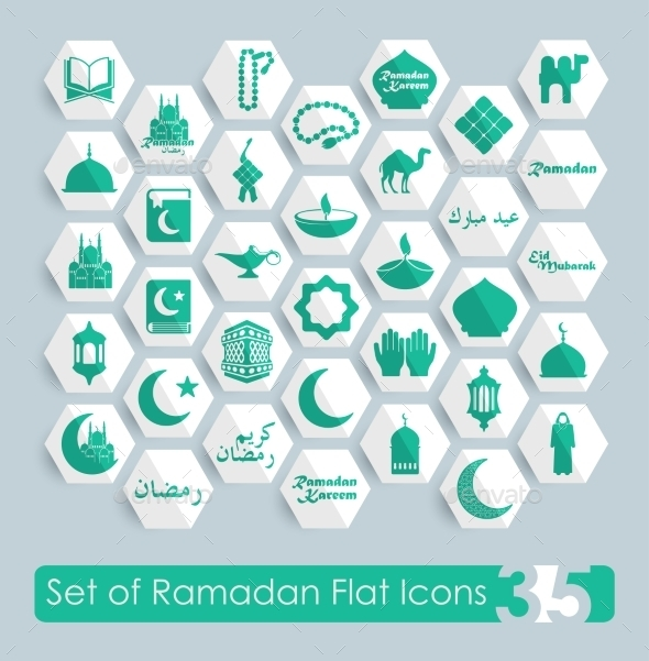 GraphicRiver Set of Ramadan Flat Icons 10952982
