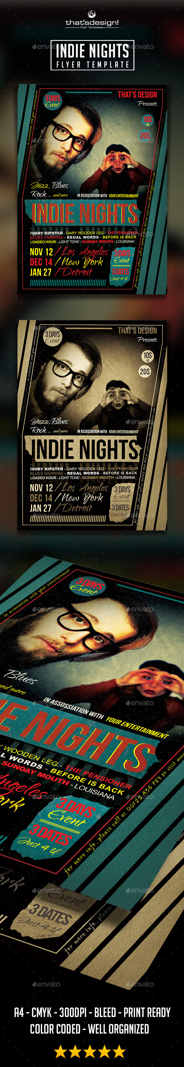GraphicRiver Indie Nights Flyer Poster Template 10953473