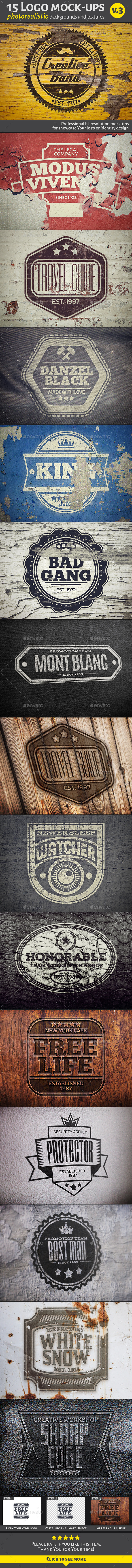 GraphicRiver 15 Logo Mock-Ups v.3 10953584