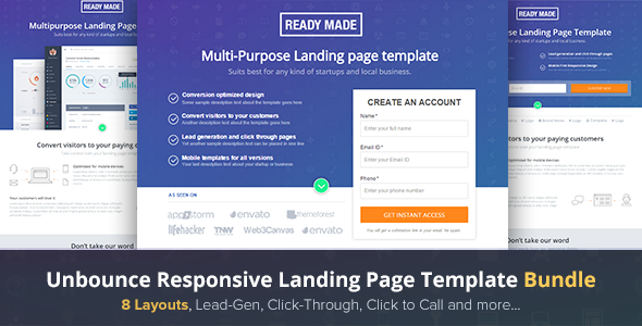 ThemeForest Unbounce Landing Page Template Readymade 10953628