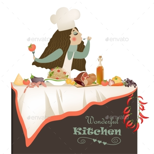 GraphicRiver Woman Cooking in the Kitchen 10954025