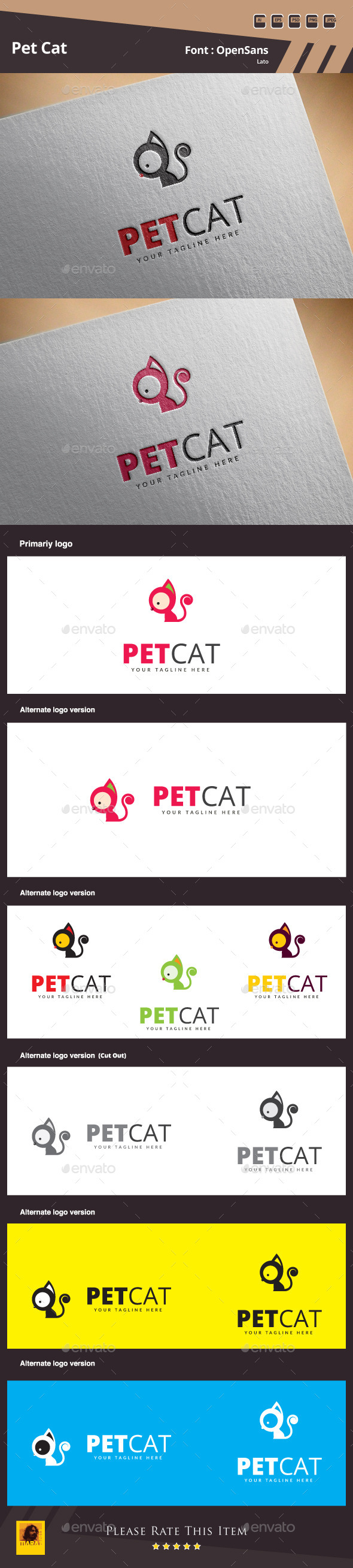 GraphicRiver Pet Cat Logo Template 10954358