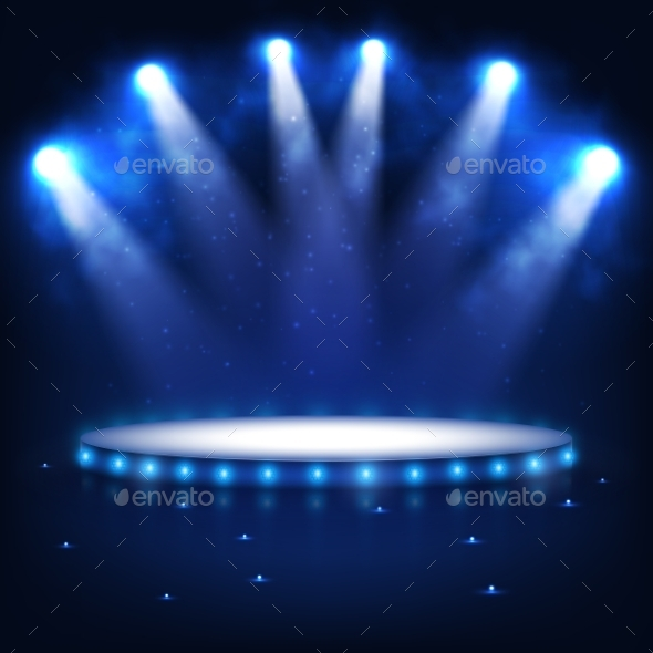 GraphicRiver Illuminated Podium for Presentation in the Dark 10954365