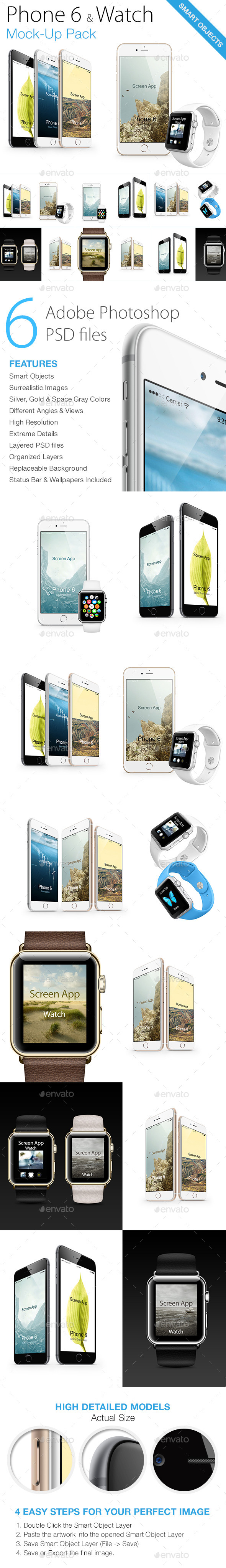 GraphicRiver Phone 6 & Watch Mock-ups 10954582