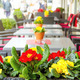 Outdoor street cafe tables ready for service. - PhotoDune Item for Sale