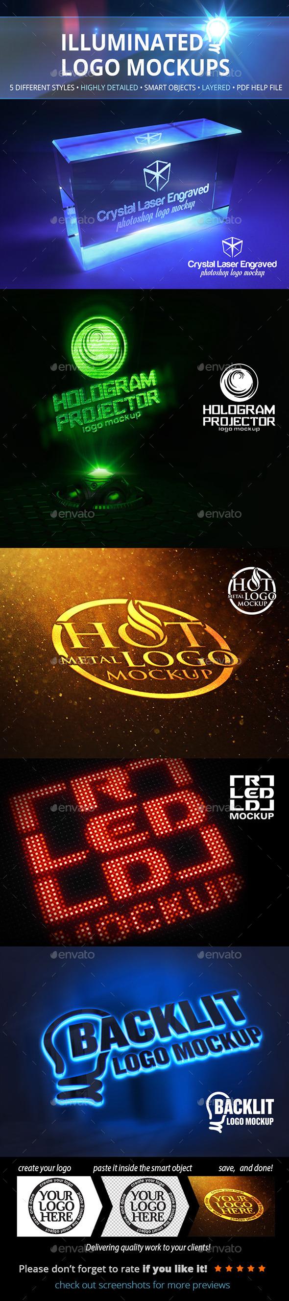 GraphicRiver Illuminated Logo Mockups 10955063