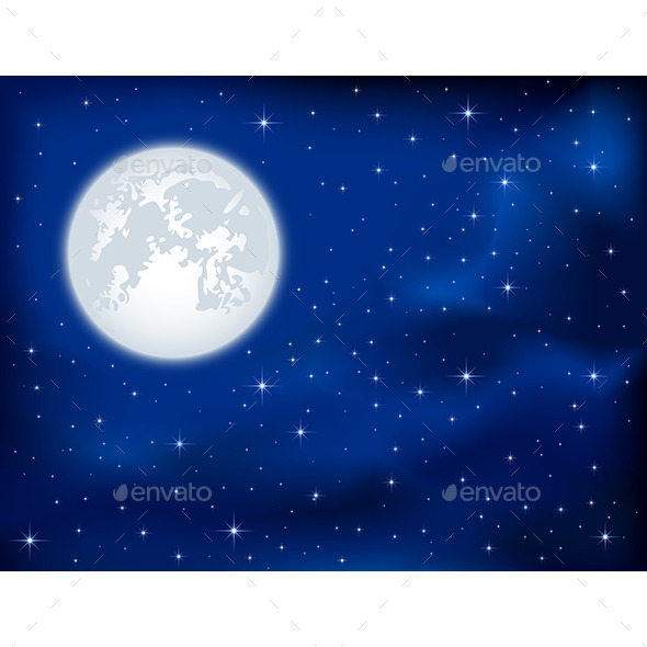 GraphicRiver Night Sky and Moon 10955079