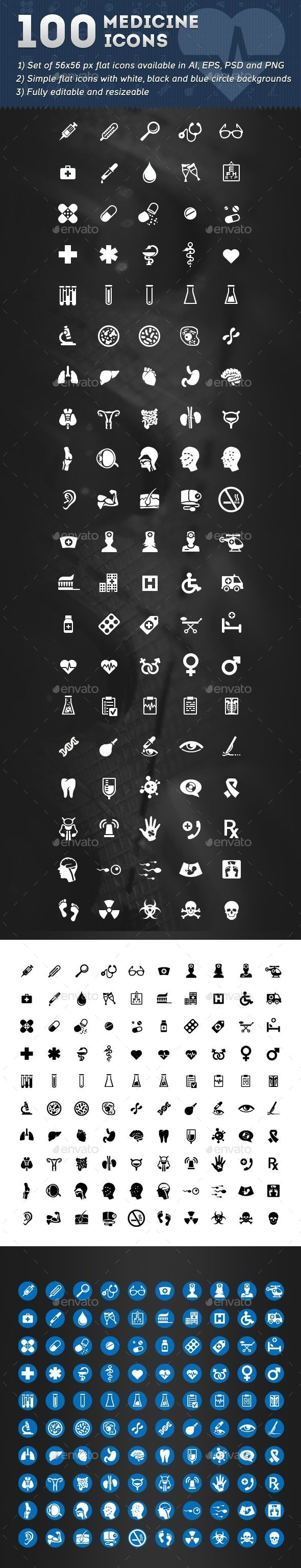 GraphicRiver 100 Medicine Icons 10955112