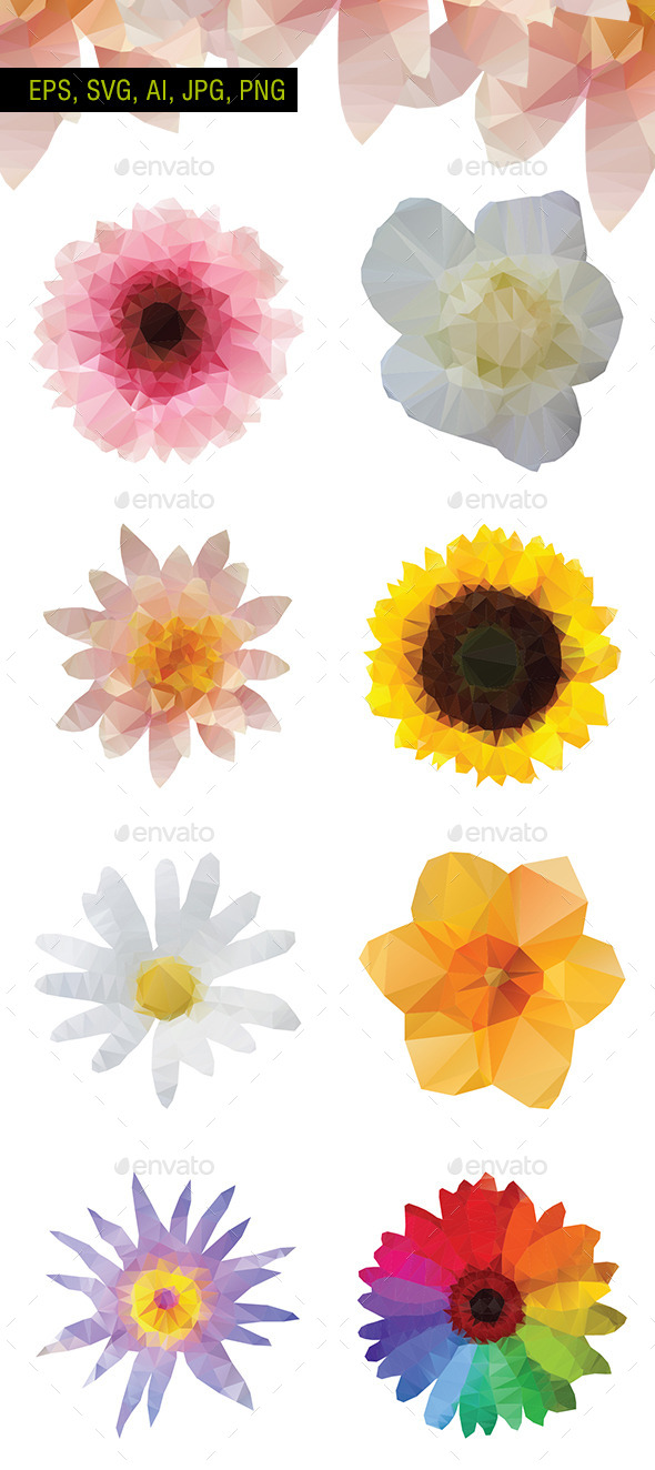 GraphicRiver Polygon Vector Flowers Pack of 8 10955420