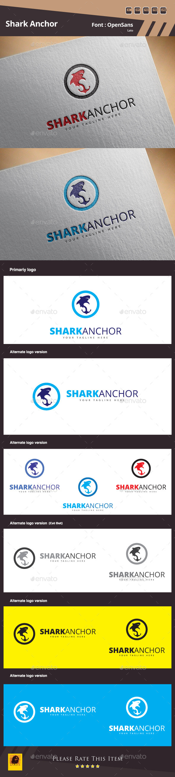 GraphicRiver Shark Anchor Logo Template 10955434