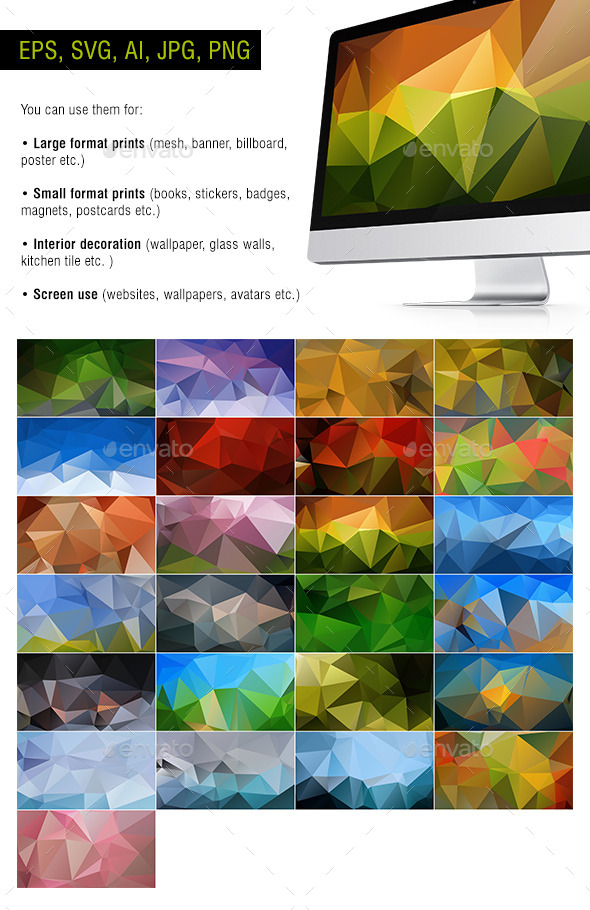 GraphicRiver Polygon Backgrounds Natural #1 Pack of 25 10955497