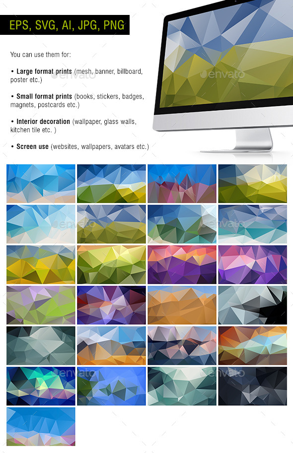 GraphicRiver Polygon Backgrounds Natural #2 Pack of 25 10955612