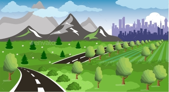 GraphicRiver Road to a City 10955884