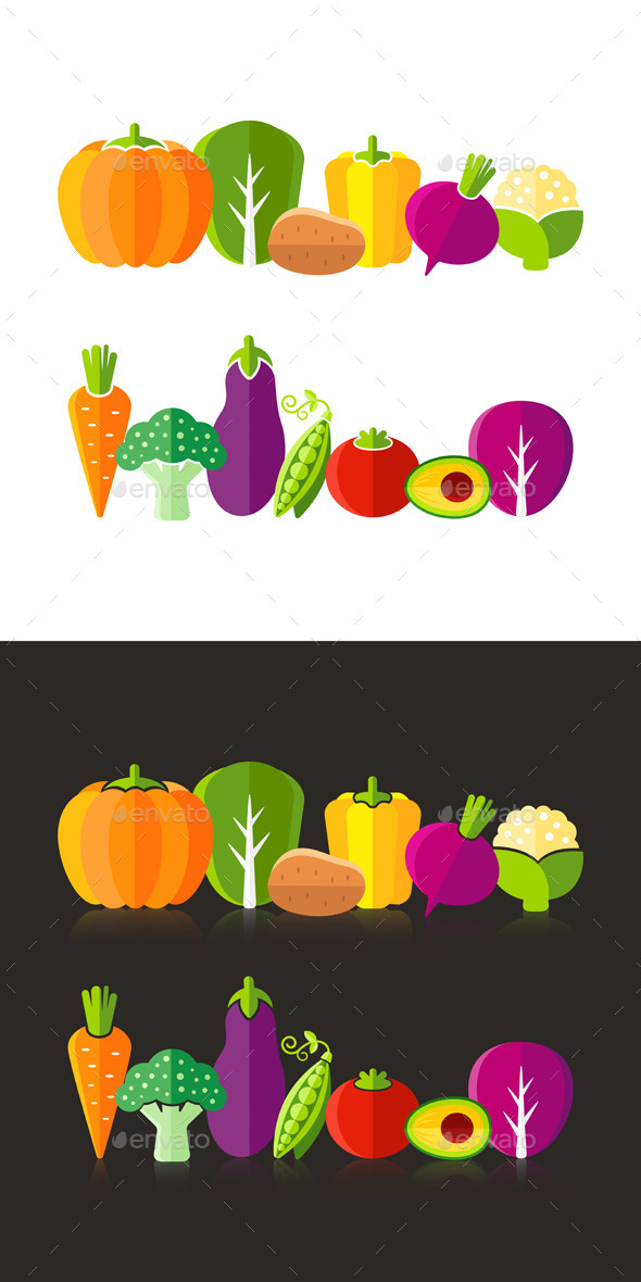 GraphicRiver Organic Farm Vegetables Illustration In Flat Style 10956025