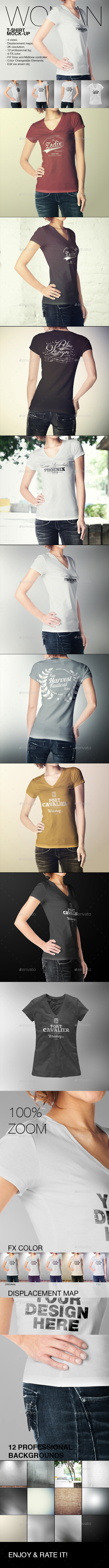 GraphicRiver Woman T-Shirt Mock-Up 10956230