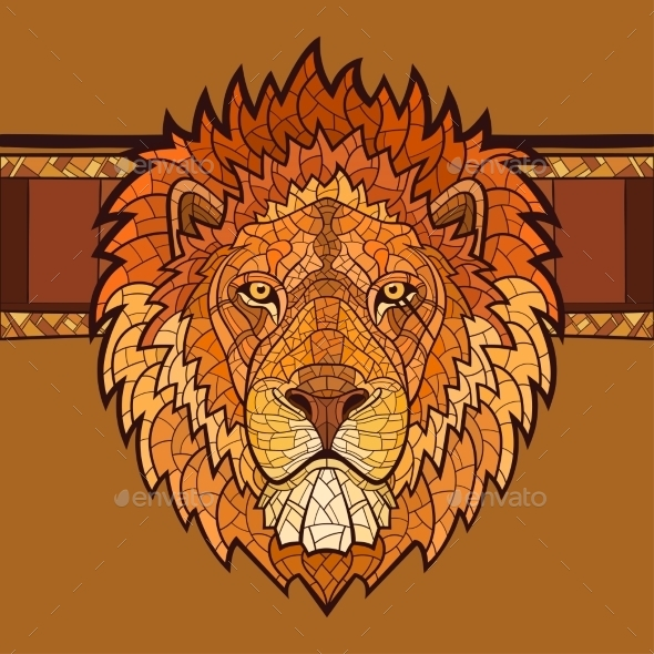 GraphicRiver Lion Head with Ethnic Ornament 10956851