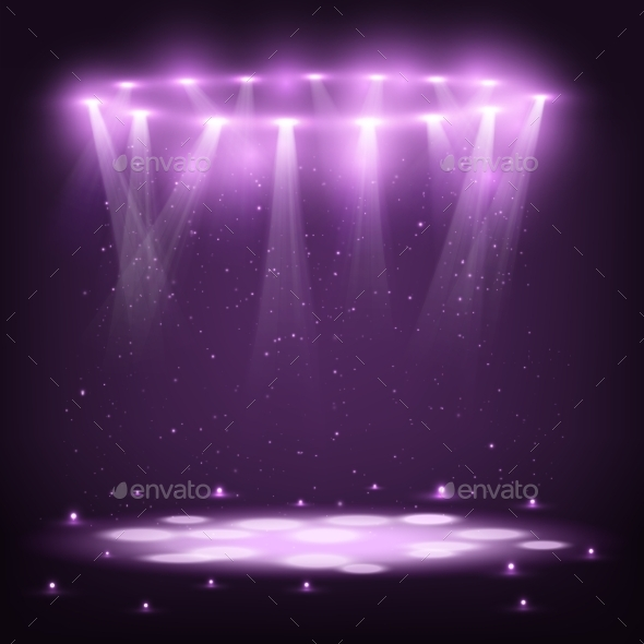 GraphicRiver Stage with Spotlights and Spark Rain 10956881
