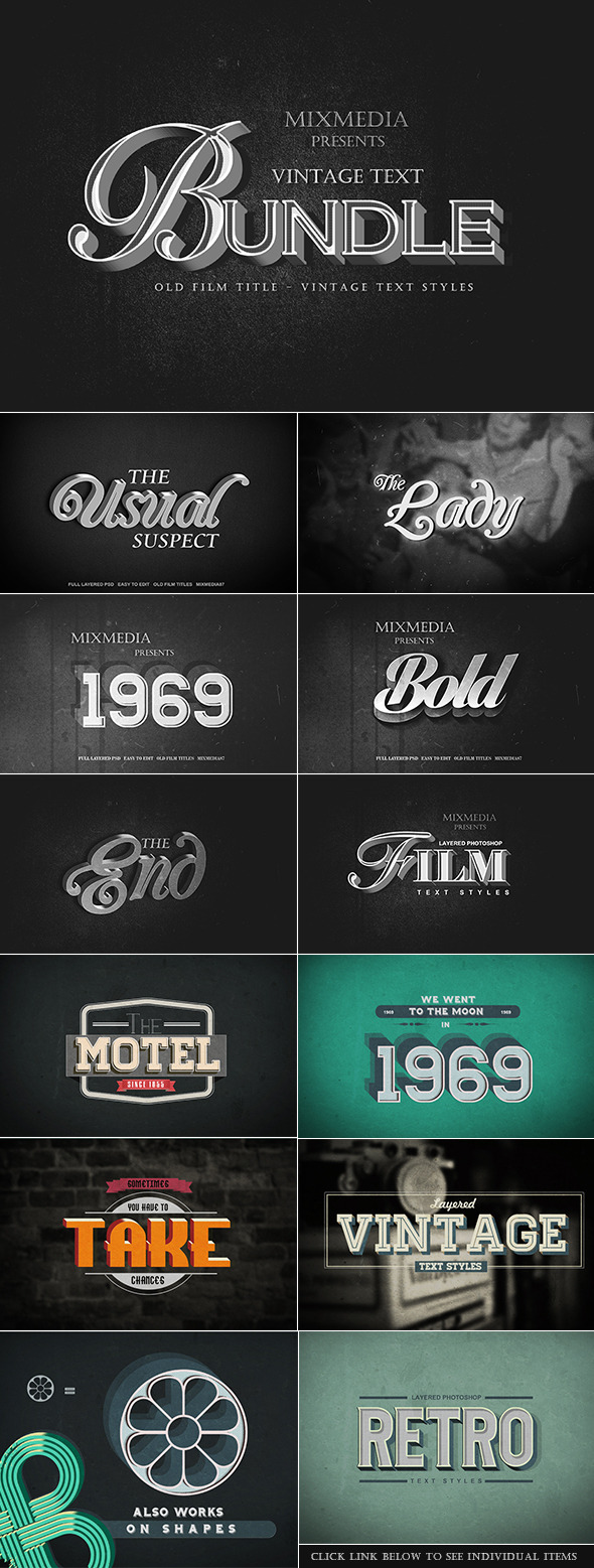 GraphicRiver Vintage Text Bundle 10956930