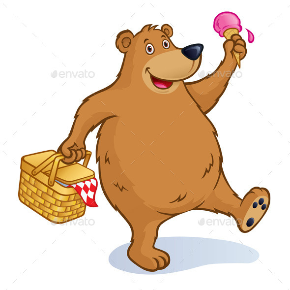 GraphicRiver Bear with Picnic Basket and Ice Cream Cone 10957152
