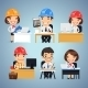 Engineers Cartoon Characters at the Table Set - GraphicRiver Item for Sale