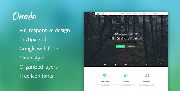 ThemeForest Onado One Page WordPress Theme 10957221