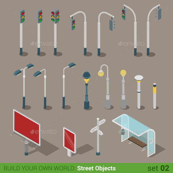 GraphicRiver Lamps Isometric 10957373