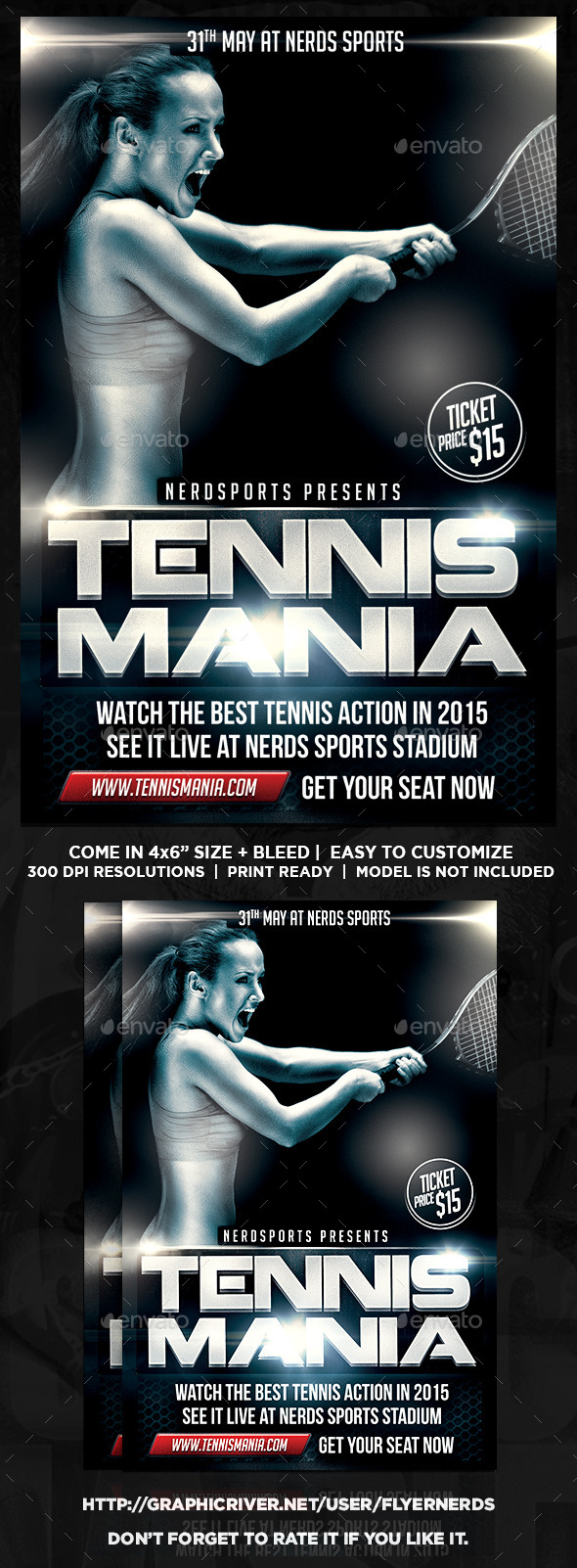 GraphicRiver Tennis Mania Sports Flyer 10958229