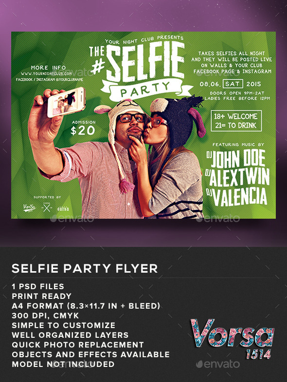 GraphicRiver The Selfie Party Flyer 10958268