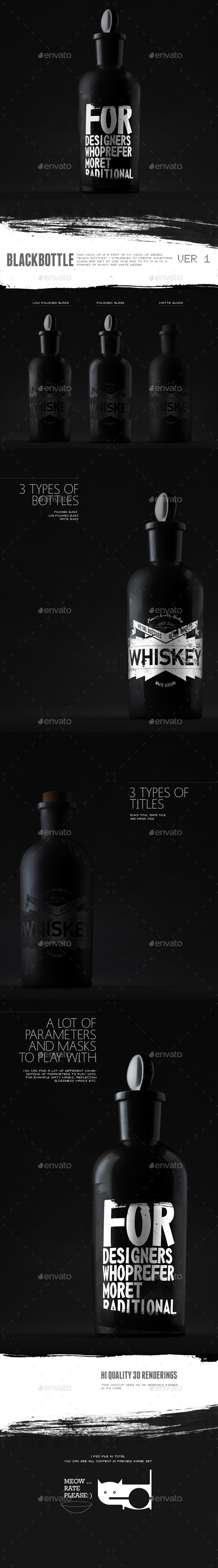 GraphicRiver Black Bottle Mockup 10894683