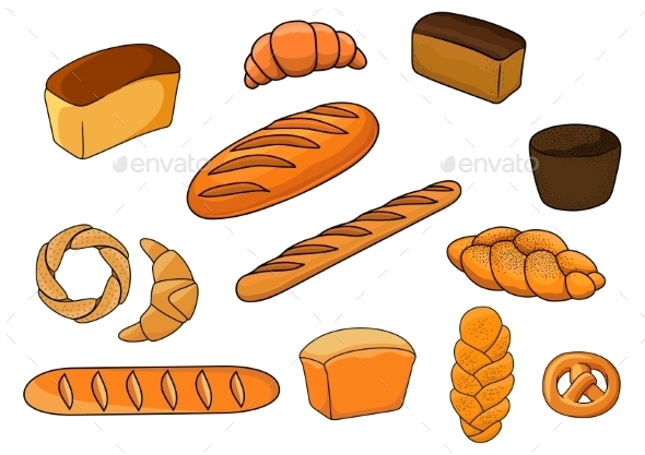 GraphicRiver Bread and Pastry Cartoons 10958292