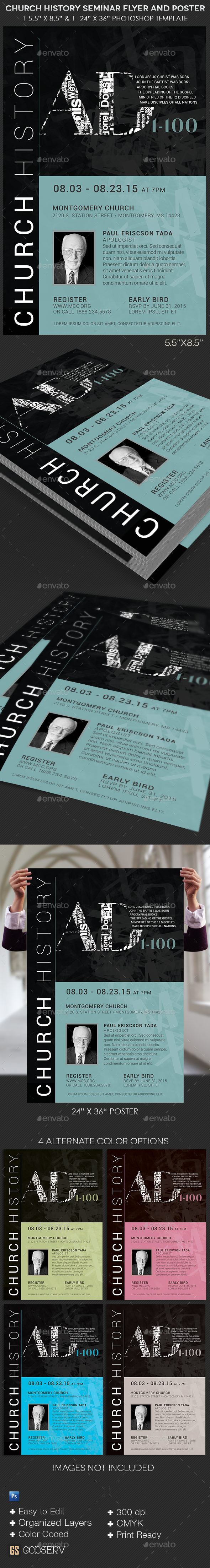 GraphicRiver Church History Seminar Flyer and Poster Template 10958388