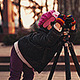 Girl is Photographing by Tripod - VideoHive Item for Sale