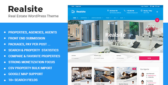 ThemeForest Realsite Material Real Estate WordPress Theme 10917194