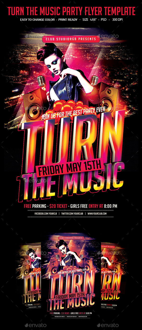 GraphicRiver Turn The Music Party Flyer Template 10960056