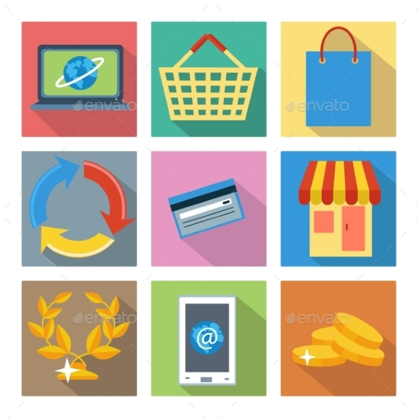 GraphicRiver Square Icons for Internet Shopping 10960373