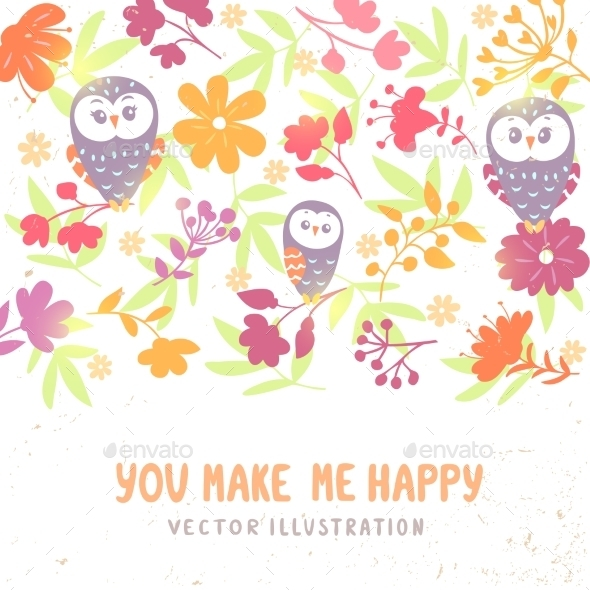 GraphicRiver Owls and Flowers Background 10960489