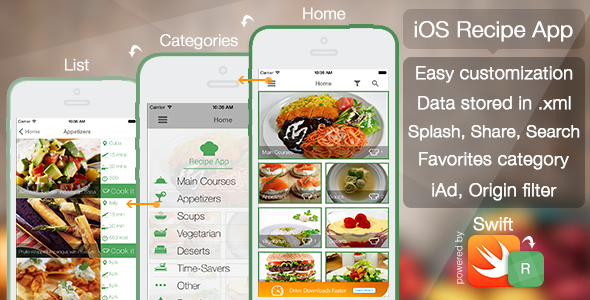 CodeCanyon iOS Recipe App 10960556