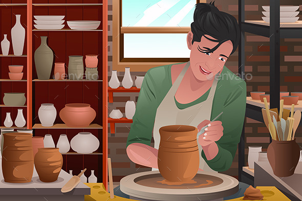 GraphicRiver Woman Working Pottery 10960570