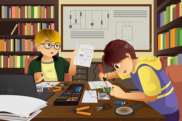GraphicRiver Two Kids Working on an Electronic Project 10960580