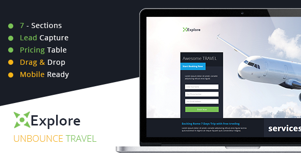 ThemeForest Explore Travel Unbounce Template 10911116