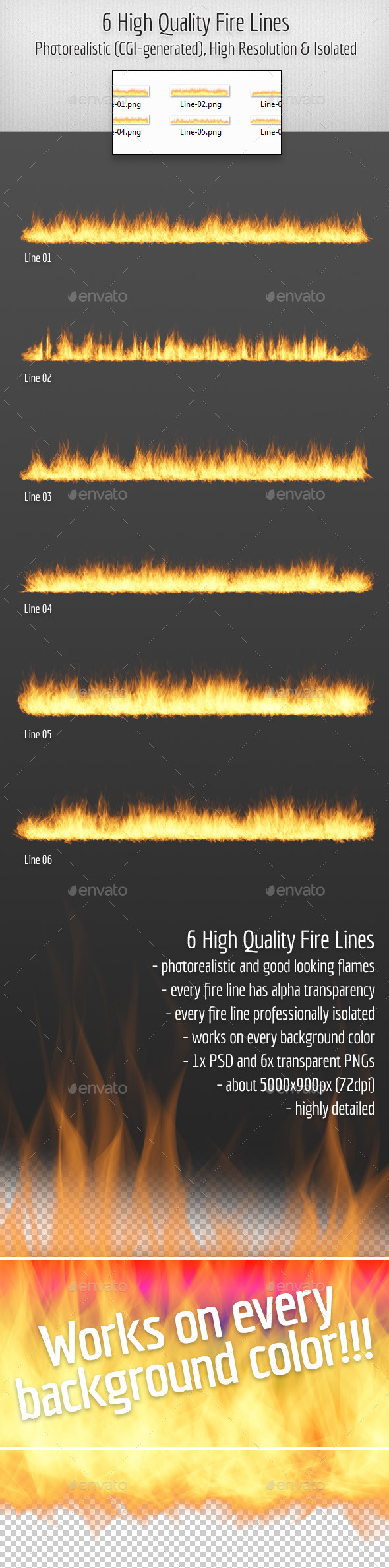 GraphicRiver 6 High Quality Hi-Res & Isolated CGI Fire Lines 10960709