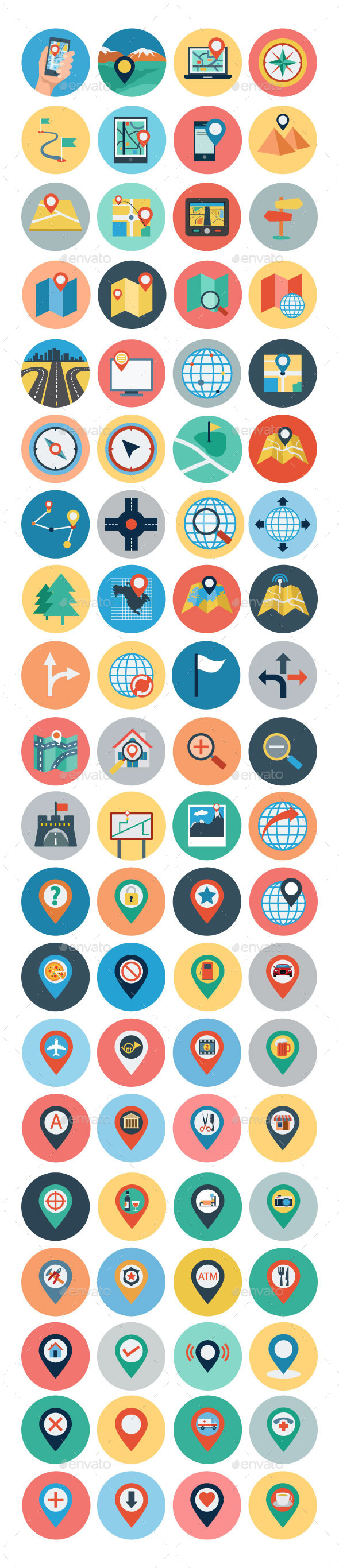 GraphicRiver 75& Flat Maps and Navigation Icons 10960757