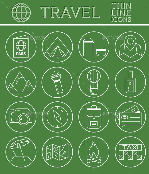 GraphicRiver Travel Outline Icons Set 10961485