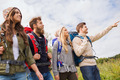 group of smiling friends with backpacks hiking - PhotoDune Item for Sale