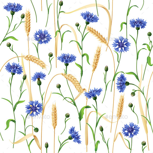 GraphicRiver Cornflowers and Wheat Ears Pattern 10961904