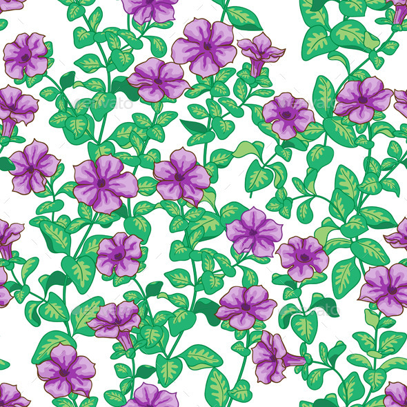 GraphicRiver Petunia Flowers Pattern 10961920