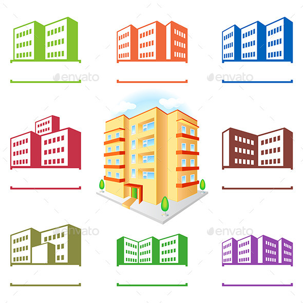 GraphicRiver Multistoried Building Site Icons Set 10962006