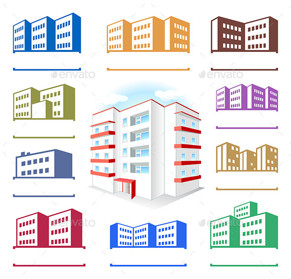 GraphicRiver Multistoried Building Site Icons Set 10962013
