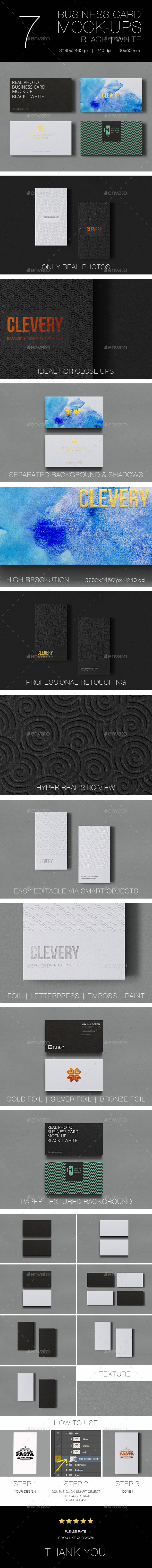 GraphicRiver Photorealistic Business Card Mockup Black & White 10962076