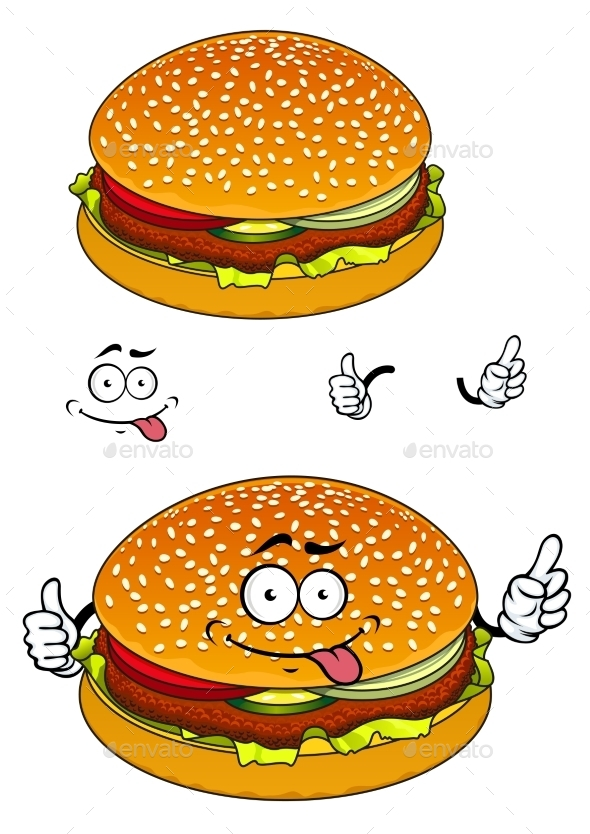GraphicRiver Hamburger Cartoon Character 10962180